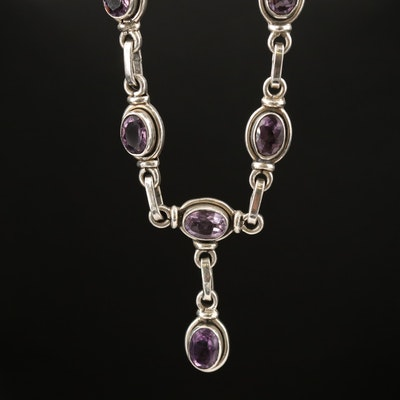 Sterling Silver Amethyst Drop Necklace