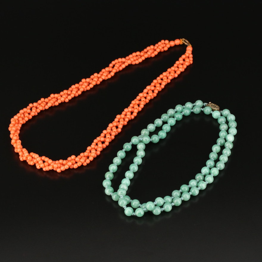 Sterling Aventurine Knotted Necklace with Braided Faux Coral Necklace
