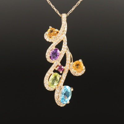 14K Citrine, Diamond and Gemstone Pendant Necklace