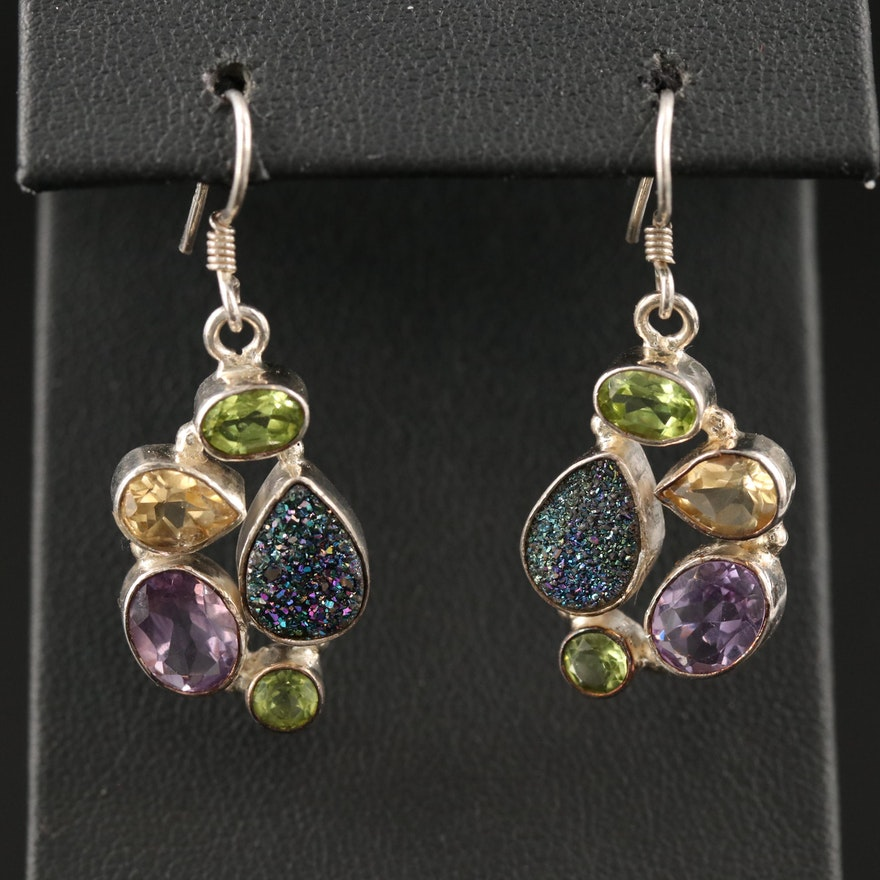 Sterling Dangle Earrings with Druzy Quartz, Peridot, Amethyst and Citrine