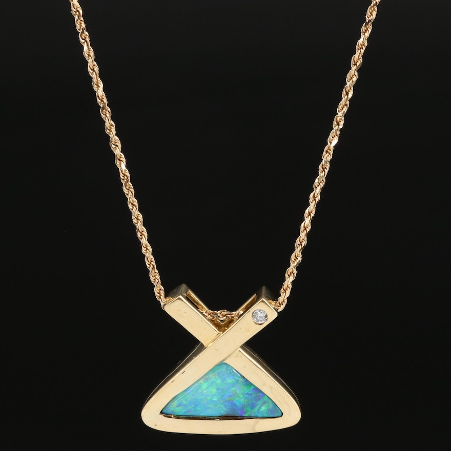 18K Boulder Opal and Diamond Pendant with 14K Chain
