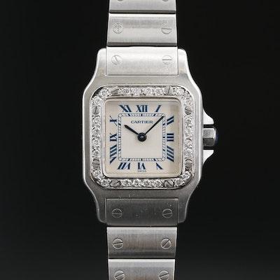 Cartier Santos Diamond Bezel and Stainless Steel Quartz Wristwatch