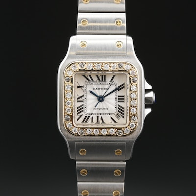 Cartier Santos Galbee 18K and Stainless Steel Diamond Bezel Automatic Wristwatch