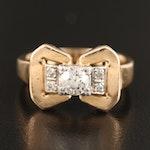 Retro 14K Diamond Ring with Platinum Setting