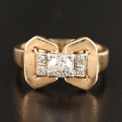 Retro 14K Diamond Ring with Platinum Setting