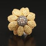 Roberto Coin 18K Diamond and Sapphire Flower Ring with Articulated Petals
