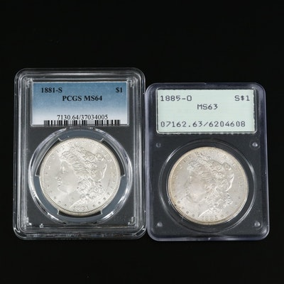 Two PCGS Graded Morgan Silver Dollars