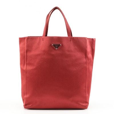 Prada Small Red Satin Tote Bag