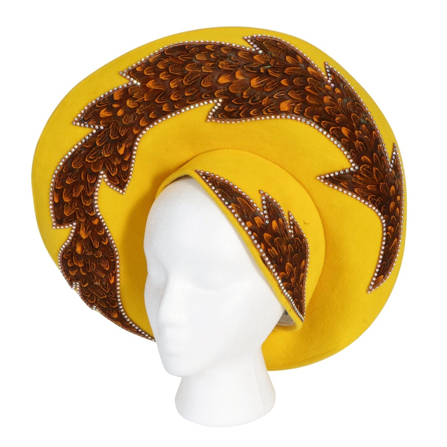 Jack McConnell Stylized Hat in Yellow with Rhinestone Embellished Feathers