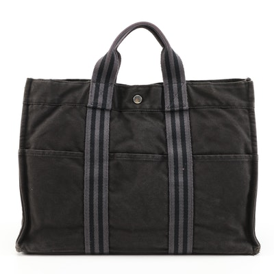 Hermès Fourre Tout MM Tote in Black and Grey Cotton Canvas
