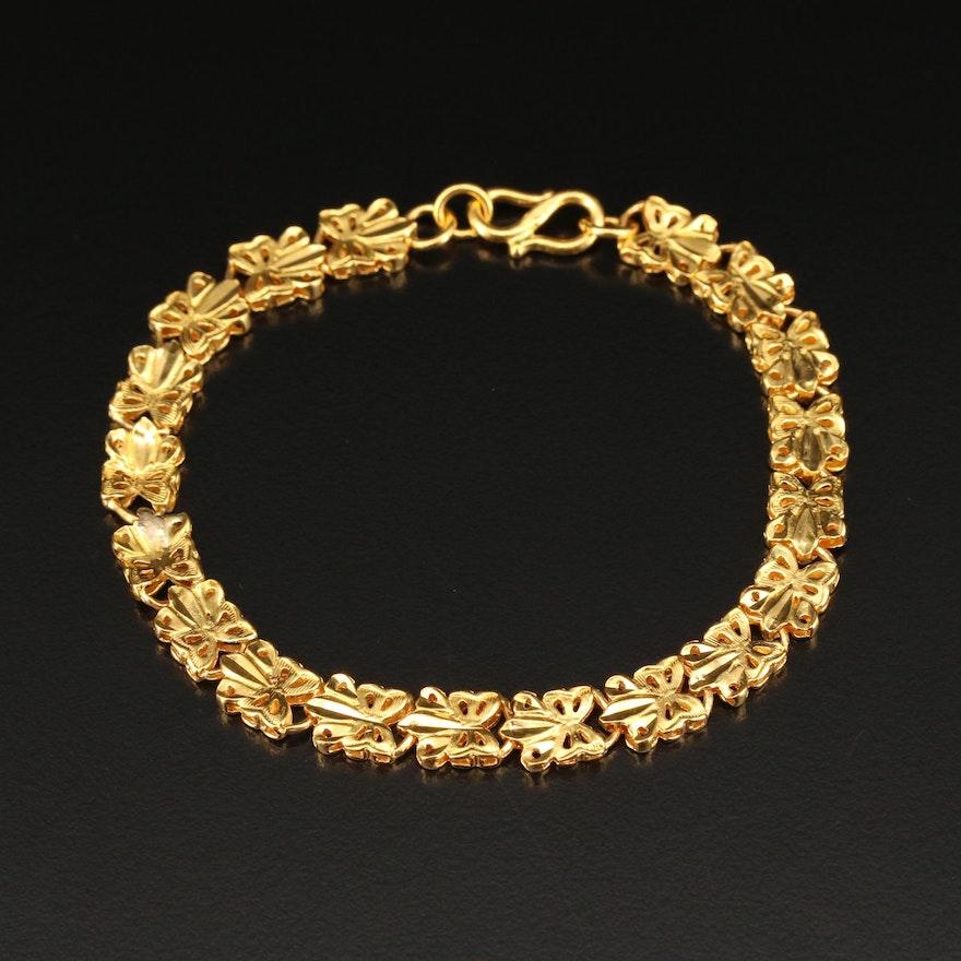 22K Cutout Fancy Link Bracelet