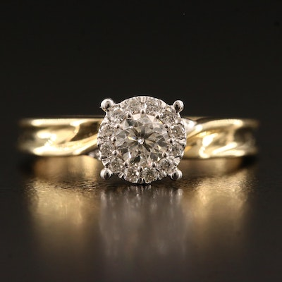 14K Diamond Ring with Halo
