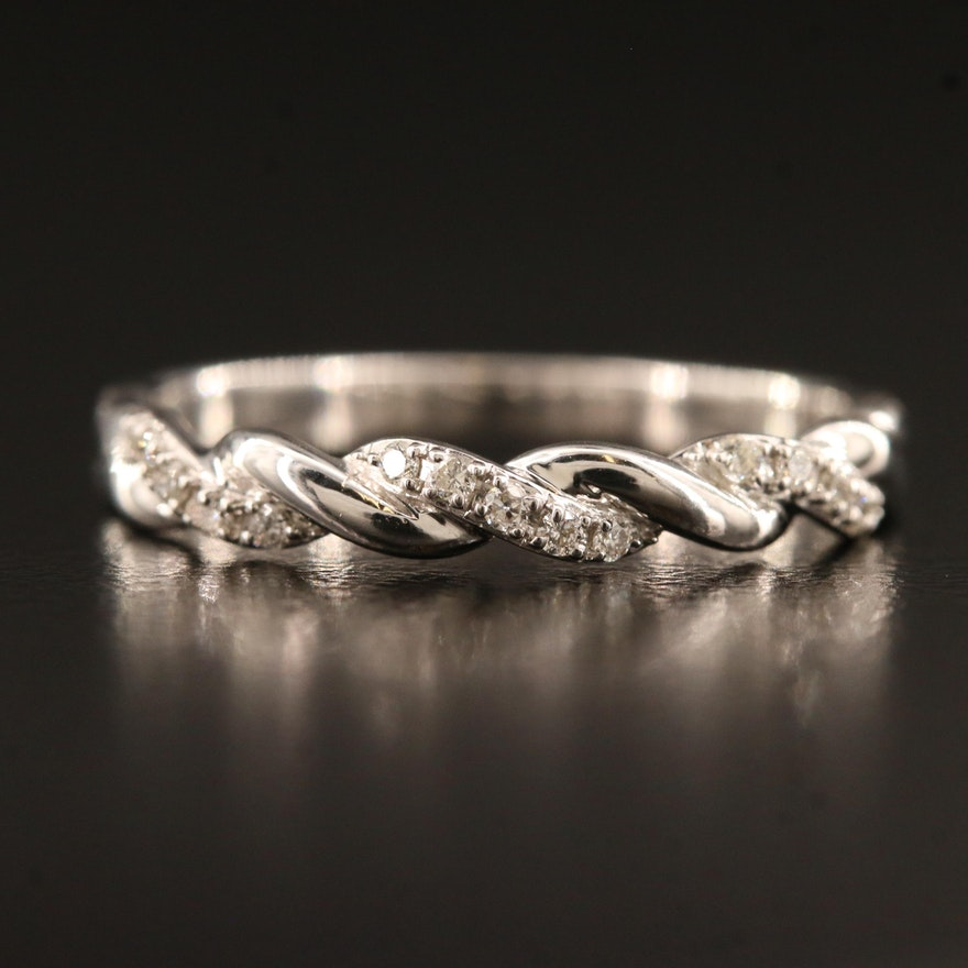14K Diamond Twisted Rope Band
