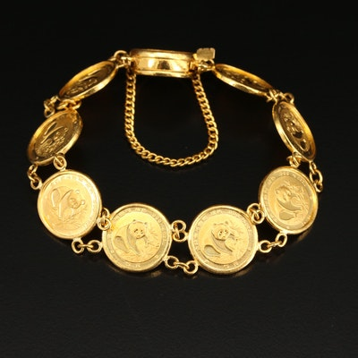 18K Bracelet with Chinese 22K Panda Bullion Coins