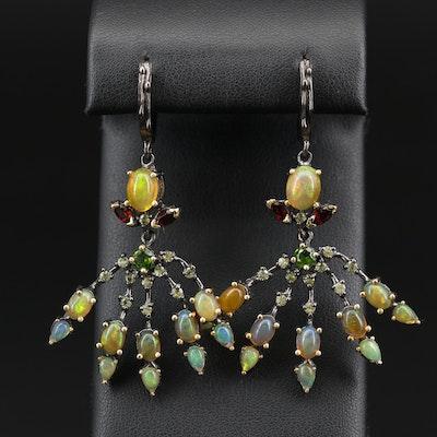Sterling Silver Multi-Gemstone Branching Dangle Earrings