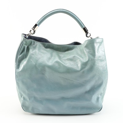 Yves Saint Laurent Roady Hobo Bag in Aqua Blue Crinkled Leather