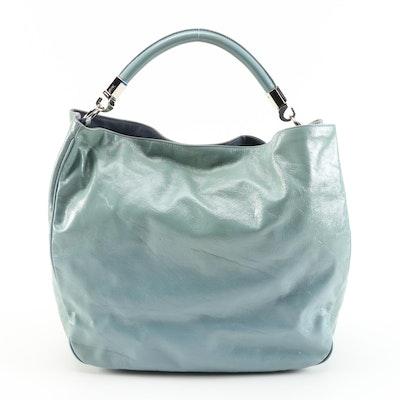 Yves Saint Laurent Roady Hobo Bag in Aqua Blue Crinkled Leather
