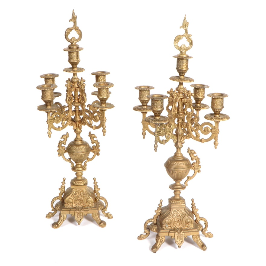 Pair of Louis XV Style Cast Spelter Candelabra, Early 20th Century