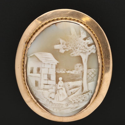 Vintage 10K Shell Scenic Cameo Brooch