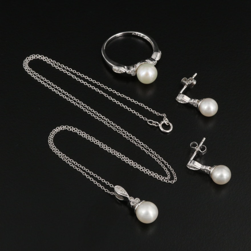 Sterling Silver Pearl and Diamond Earrings, Ring and Necklace Set
