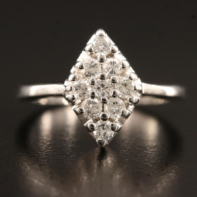 14K Diamond Navette Cluster Ring