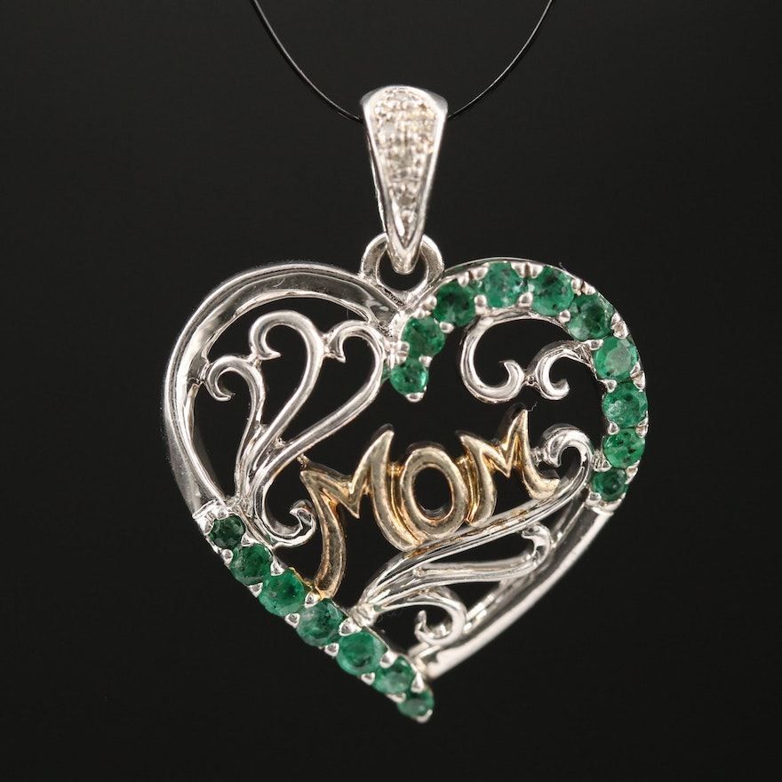 "Sterling Silver Emerald and Diamond ""Mom"" Heart Pendant"