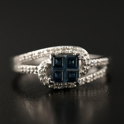 Sterling Silver Sapphire and Diamond Bypass Ring