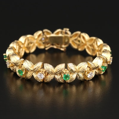 18K Diamond and Emerald X Link Bracelet
