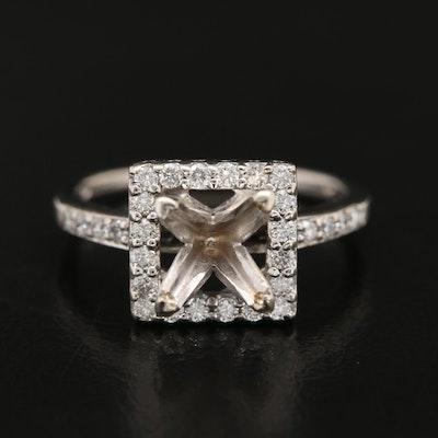 14K Diamond Halo Semi-Mount Ring