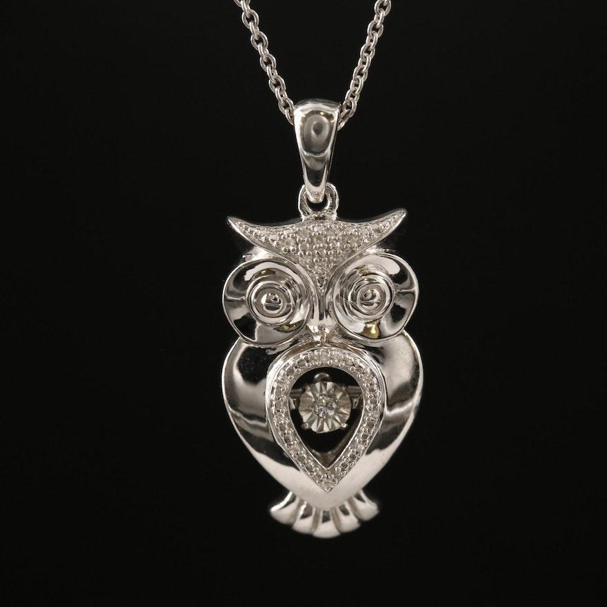 Sterling Silver Diamond Owl Pendant Necklace