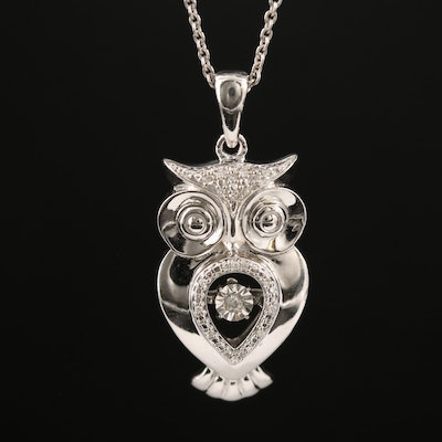 Sterling Silver Diamond Owl Necklace with Fluttering Center
