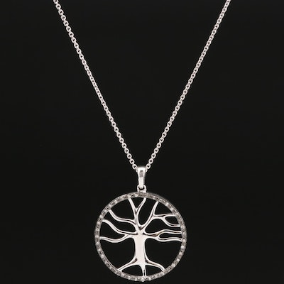Sterling Silver Diamond Tree of Life Pendant Necklace