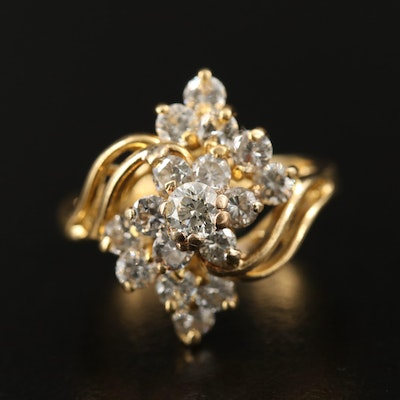 18K 1.30 CTW Diamond Bypass Cluster Ring