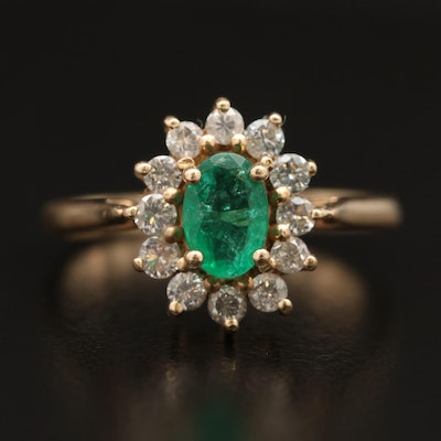 14K Emerald and Diamond Floral Halo Ring