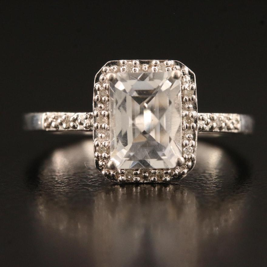 Sterling Quartz and Diamond Halo Ring