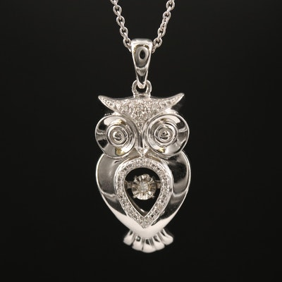 Sterling Silver Owl Pendant Necklace with Diamond Accents