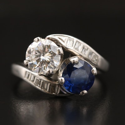 Platinum 1.29 CTW Diamond and 1.26 CT Sapphire Ring with Palladium Head Sets