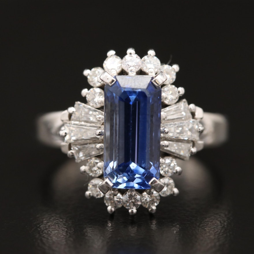 Platinum 3.61 CT Sapphire and Diamond Ring