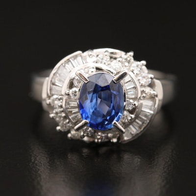 Platinum 1.22 CT Sapphire and Diamond Ring