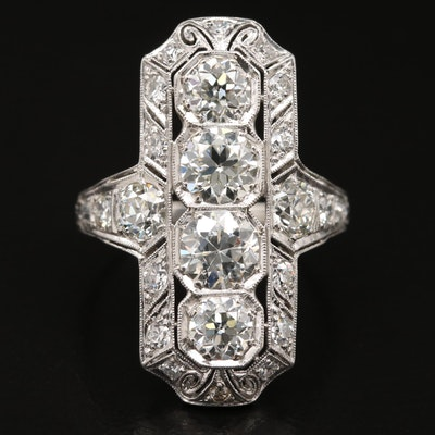 Edwardian Platinum 3.68 CTW Diamond Ring