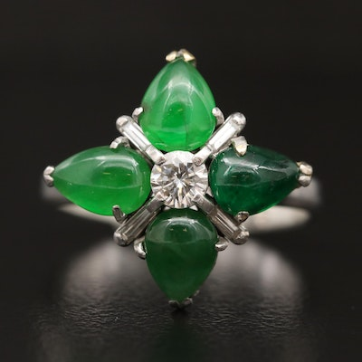 Platinum Diamond, Jadeite and Emerald Ring