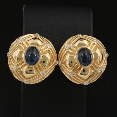 18K 7.72 CTW Sapphire and Diamond Bezel Set Earrings