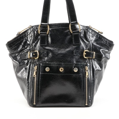 Yves Saint Downtown Laurent Black Crinkle Patent Leather Shoulder Tote