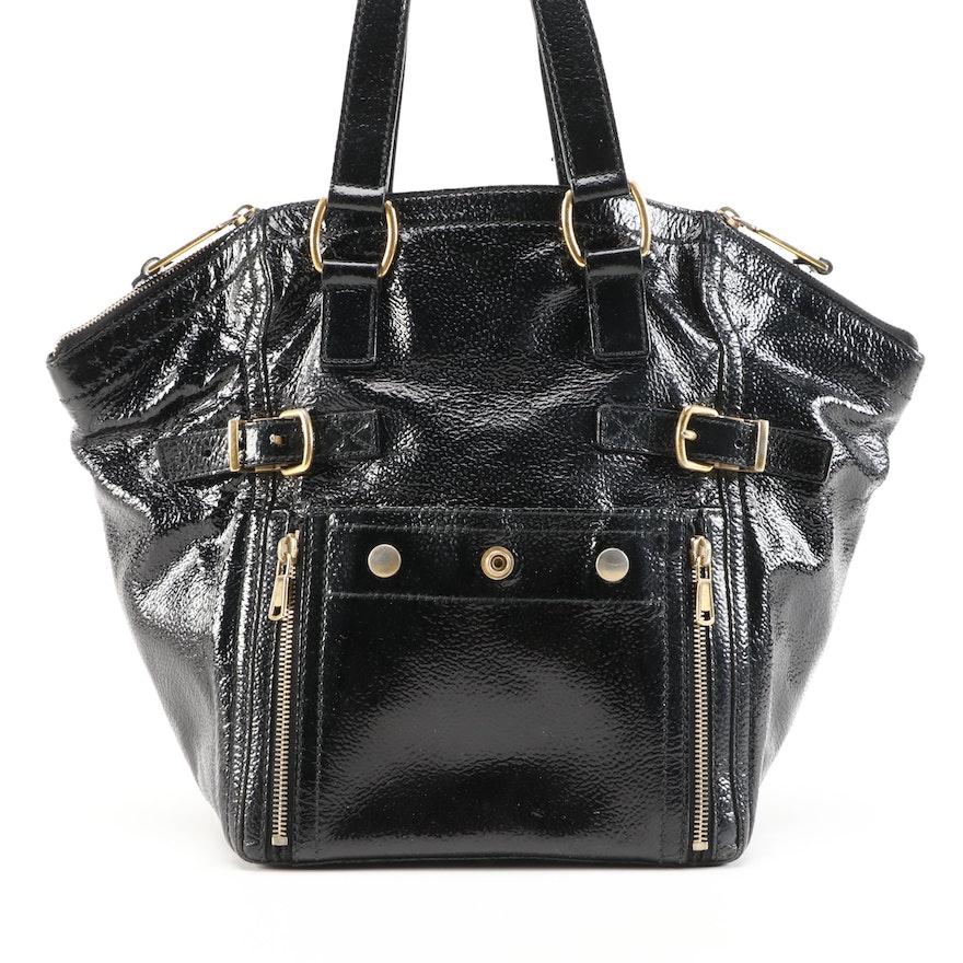 Yves Saint Downtown Laurent Black Crinkle Patent Leather Shoulder Tote