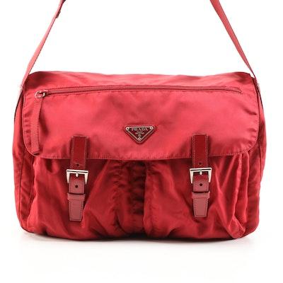 Prada Red Nylon Messenger Bag
