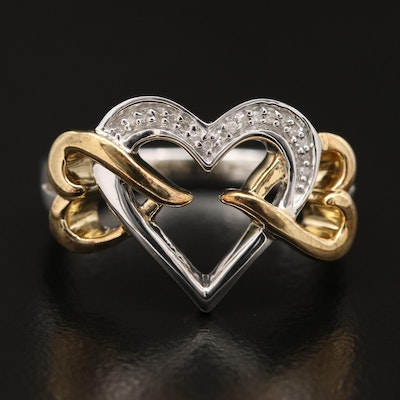 Sterling Silver Diamond Triple Openwork Heart Ring