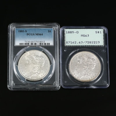 Two PCGS Graded Morgan Silver Dollars