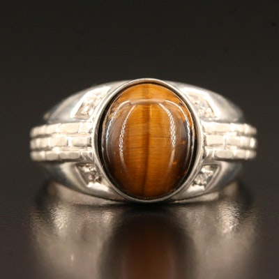 Sterling Tiger's Eye and Glass Ring