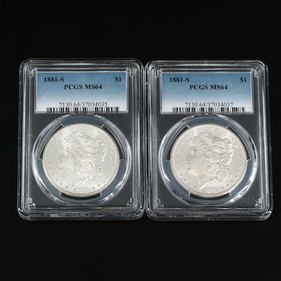 Two PCGS Graded MS64 1881-S Morgan Silver Dollars
