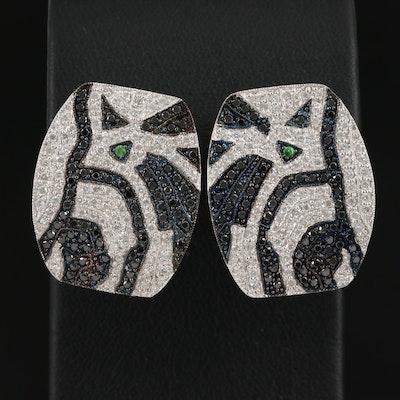 14K 1.40 CTW Diamond and Tsavorite Button Earrings